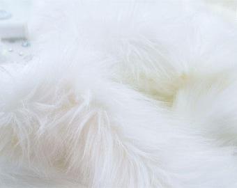 """White faux fur 2"""" pile, white fur fabric craft squares, fursuit fur, fake fur, cosplay fur, long pile faux fur, white shag fur, white fur"""