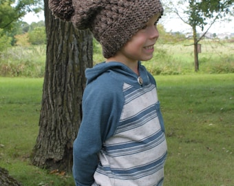 Boy's Slouchy Hat, Crochet Cable Stitch Hat, Kid's Winter Hat, Ready To Ship
