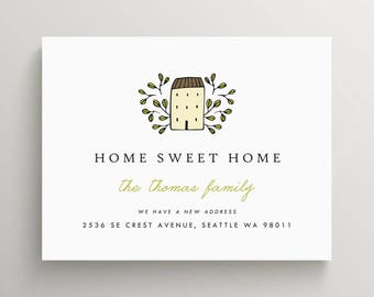 little cottage moving announcement set | we've moved | new home | address change | note card | modern | simple | farmhouse