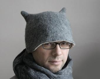 Grey Beetle with Horns Hat / Funny Design Alien Hat / Felt Millinery Hat / Wool Winter Hat / Handmade Men's or Women's, Adult or Children
