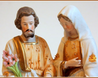Hand painted antique bisque statue of the Holy Family, early 1900s.