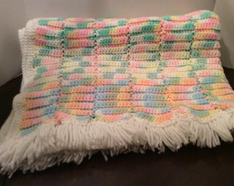 On Sale!  Vintage Multi Color Large Baby Blanket, Crochet Baby Blanket with Fringes