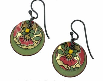 Vintage Tea Tin Earrings - Green and Pink