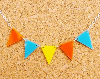 Derby - Orange, Yellow and Blue Bunting Necklace