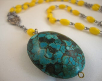 "33"" vintage yellow rosary, long layering style, with turquoise and brown stone pendant"