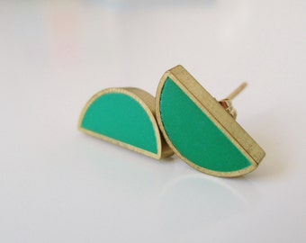 emerald green  brass half moon stud earrings
