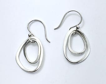 Two stones drop earrings handmade in Argentium silver