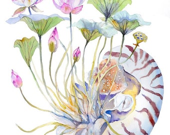Nautilus Painting Lotus and Nautilus Watercolor Print Surreal  Sea Creature Wall Art Watercolor Painting Print Lotus Flowers Animal Prints