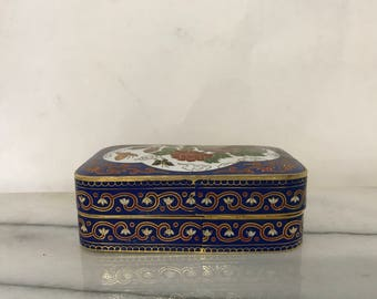 Vintage Metal Hand Painted Box with Flowers and Butterflies