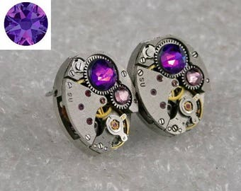 Steampunk Stud Earrings with   Watch Movement and Violet Heliotrope Swarovski crystals , Steampunk Earrings , Steampunk Clockwork Earrings