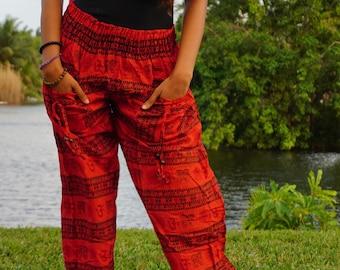 Burnt Orange Om Sanskrit Paisley Pants