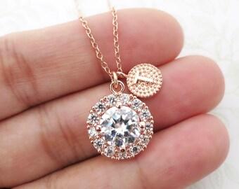 Heather - Personalised Luxe Cubic Zirconia Halo Round Drop necklace, Halo style crystal necklace, bridesmaid brides wedding jewelry