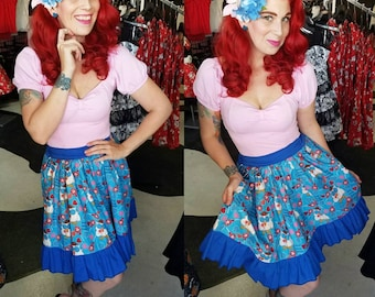 Tootsie Pop Owl Lolita Pinup skirt Custom Size Limited supply flat front 1/2 elastic band