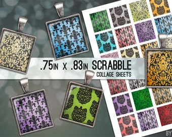 Damask Collage Sheet Digital Scrabble Tile Images .75x.83 on 4x6 and 8.5x11 Download Sheets for Glass or Resin Pendants E0011