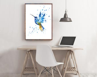 Hummingbird Art Print, home decor, blue bird wall art, watercolour artwork, office art, hand painted nature art print, wildlife painting art