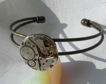 Steampunk Cosplay adjustable Watch Bracelet vintage watch movement Burning Man Industrial chic jewelry Birthday Gift idea for Her