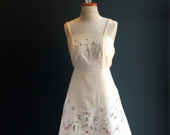 Women's Embroidered Summer Dress | made from heirloom cloth and 100% Organic Natural Cotton, pockets, adjustable button straps & ties.