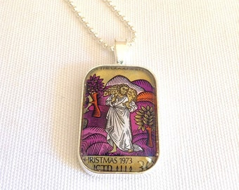 Christian necklace, Jesus the Good Shepherd vintage postage stamp, Jesus necklace, Christian jewelry, Catholic necklace
