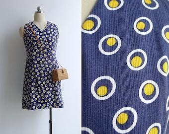 Vintage 70's 'Sunny Side Up' Navy Blue Cotton Shift Dress XS or S