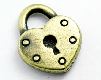 Heart Shaped Padlock Charm, 16x14mm, with Antique Brass Finish, Made in USA, #TC161