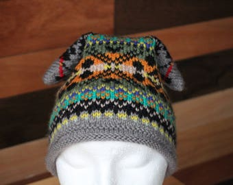 Hand knitted Ski type hat in Fair Isle