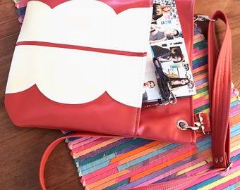 Leather Tote Bag, Vegan Bag, Tote Bag, Vegan Leather, Cross Body Bag, Shoulder Bag, Travel Bag, Tote, Leather Tote, Work Bag, Coral, Vegan
