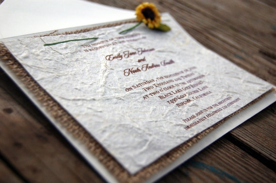 Cheap Sunflower Wedding Invitations: Items Similar To D-I-Y Rustic Burlap Sunflower Wedding