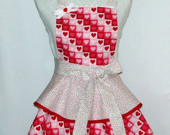 Petite Valentine Apron, Custom Personalize With Name, Pretty Christmas Apron With Hearts, No Shipping Fee, Ready To Ship TODAY, AGFT 970