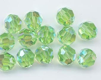 Twelve rare Swarovski crystals: art 5000 - 8 mm - peridot AB 2X
