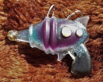 ray gun orgone pendant//2 inch pendant//comes with black cord//black tourmaline//amazonite//fluorite//pyrite//gold//rhodochrosite