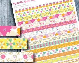 Floral Washi Tape Printable Stickers, Planner Stickers, Erin Condren, Floral Stickers, Floral Graphics, Printable, DIY Planner Stickers