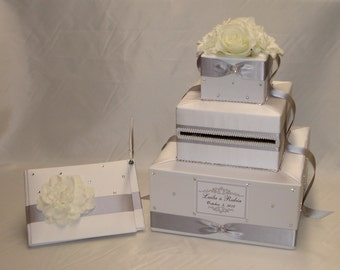 White/Silver Wedding Card Box and Matching Guest Book/Pen