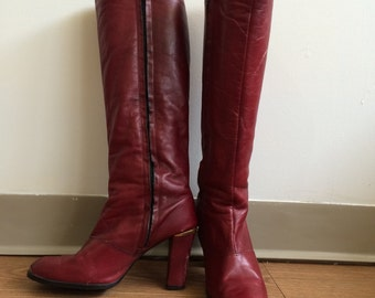 Etienne Agnier vintage red leather boots size 9