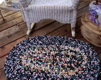 Handmade Floral Rag Rug|Black Boho Crochet Mat|Shabby Chic|Rustic|Vintage Decor|Mashine Washable|Cotton Accent Rug