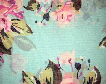 Handmade Floral Infinity Scarf Aqua Pink White Green