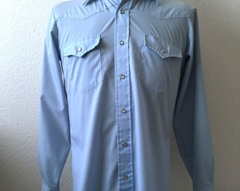 Vintage Men's 80's Western Shirt, Blue, Snap Button, Long Sleeve (M)