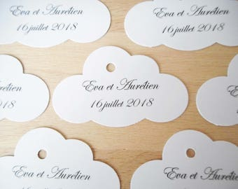 Lot 20 labels to customize cloud E, black, worn text name, wedding, baptism, custom, paper label fancy