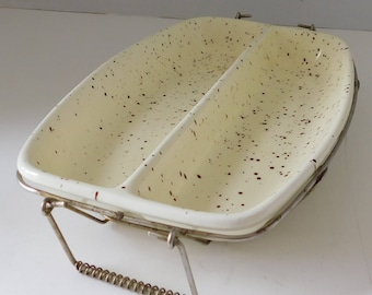 Divided Yellow Speckled Serving Dish with tray Made in Japan