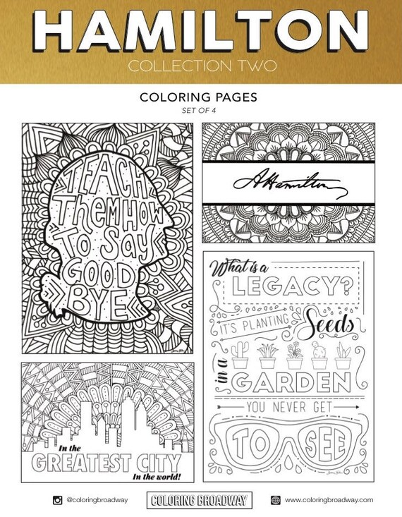 hamilton collection set 2 digital download broadway coloring card musical theater hand drawn coloring pages wall art theatre nerd