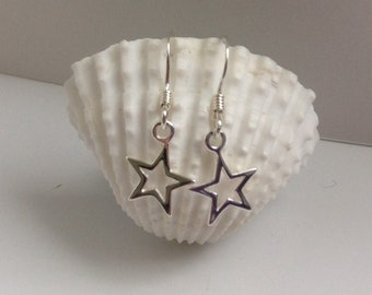 Sterling silver drop star earrings