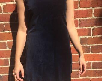 Blue velvet mini dress