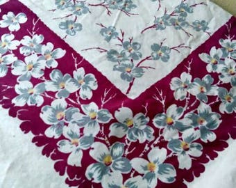 Vintage plum Purple border tablecloth with gray dogwood blossoms