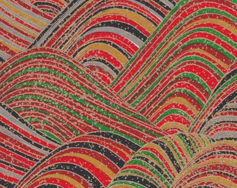 Chiyogami or yuzen paper - waves of waves, emerald green, cherry red, black and grey with metallic gold accents, 9x12 inches