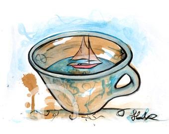 Tea & Turquoise Boat in a Mug Print