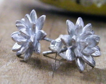 platinum antiqued sterling silver floral stud earrings