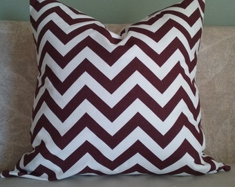 Maroon pillow cover, chevron, pillow cover, maroon and white, maroon chevron, decorative pillow, accent pillow, home decor, throw pillow