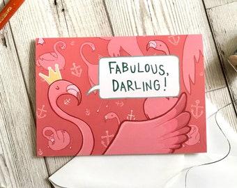 Fabulous Flamingo card, A6 size, bird lover card, birthday card, friend card, bird card, funny card, sister card, animal lover card,