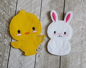 Chick and Bunny Finger Puppet Set, Finger Puppets, Puppets, Imagination Play, Pretend, Felt, Waldorf