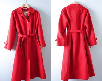 Vintage Red Rain Coat L | 1970s Red Rain Coat Removable Wool Lining  | Vintage Trench Coat