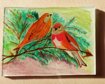 Magnet a couple of birds in branches
